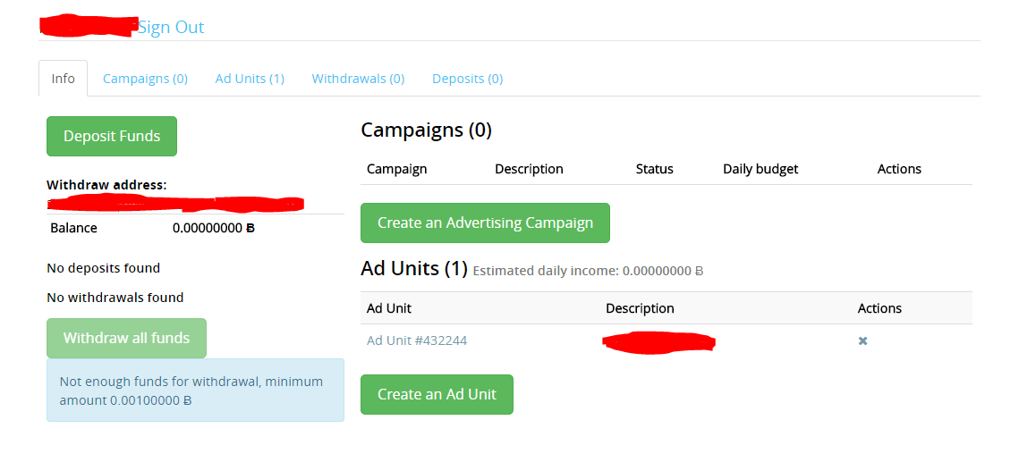 A-ads bitcoin advertising network dashboard