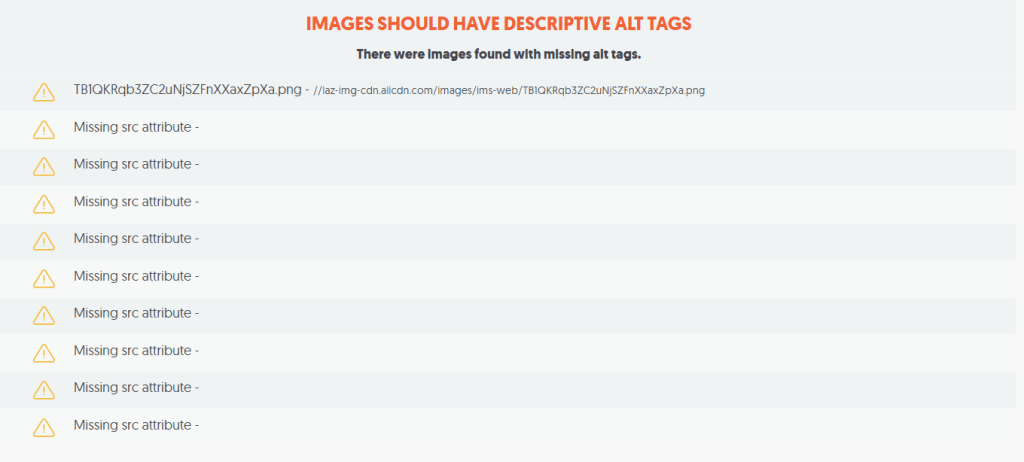 images with no alt tags