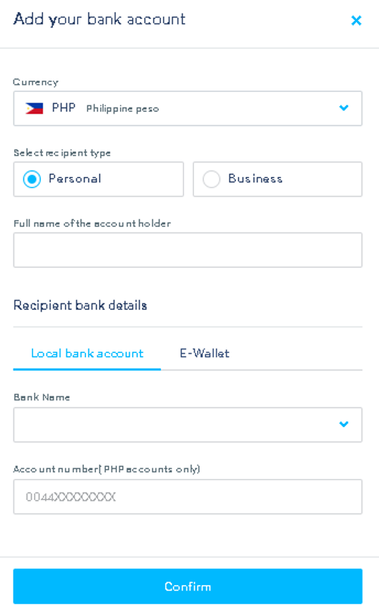 Select local back account