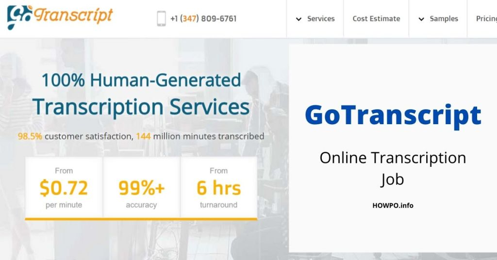 GoTranscript Online transcription job