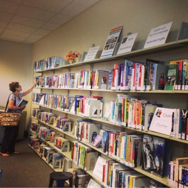 A woman stands in front of a wall of organized library books on five rows of shelves