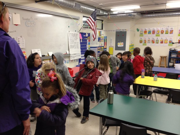 Kindergarteners lined up to leave for a field trip