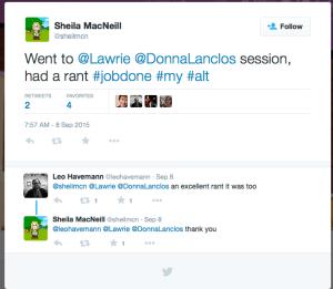 screen shot of twitter message