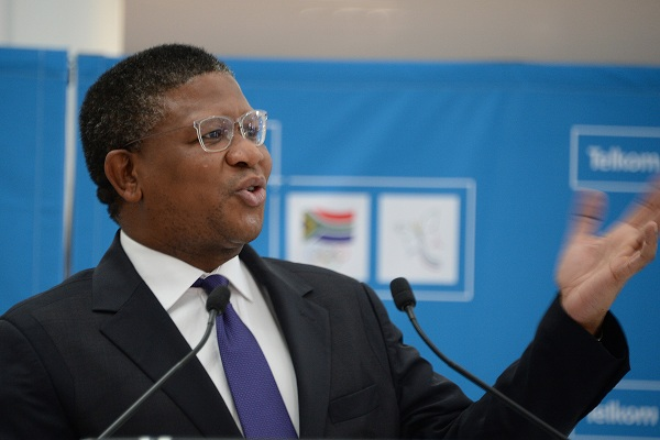 Fikile Mbalula delivering a speech