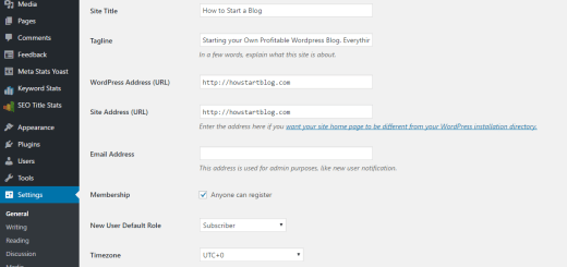 how to start a blog. General Settings