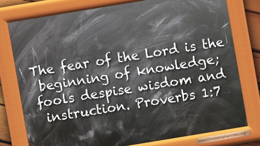 "Thought for March 23rd. ""FOOLS DESPISE WISDOM & INSTRUCTION"""