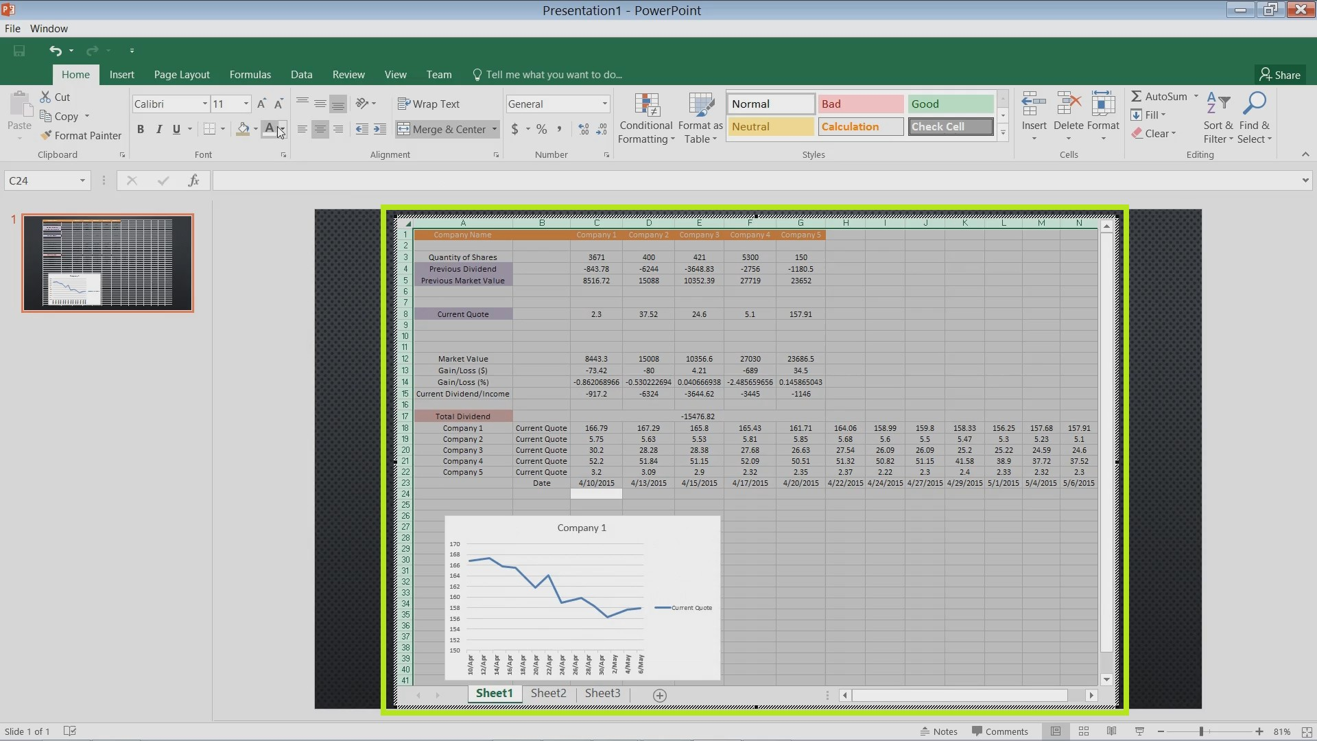 How To Insert Excel Charts And Spreadsheets In Powerpoint
