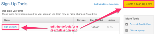 Edit or Create a New Constant Contact Sign-Up Form