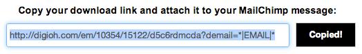 Digioh Download Link for MailChimp