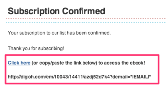 MailChimp Customized Text on Confirmation Thank You Page