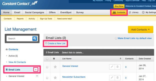 Create New Email List in ConstantContact