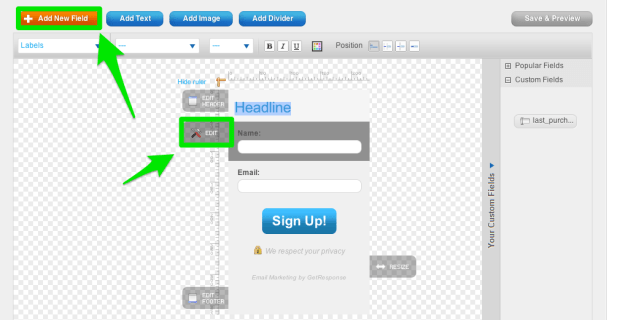 Customize your GetResponse web form