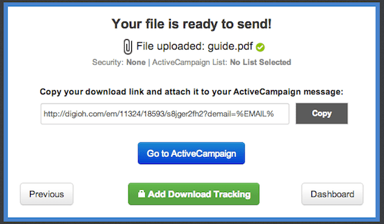 Digioh download link for ActiveCampaign