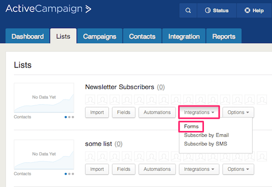 Create a new ActiveCampaign form