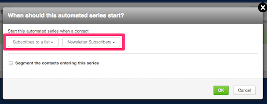 Select when the automated series should start
