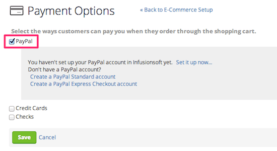 Set up paypal