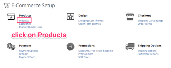 Click on Products