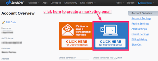 Create a marketing email in SendGrid