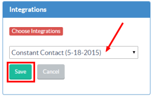 Choose Constant Contact integration