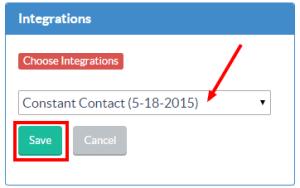 Choose Constant Contact integration