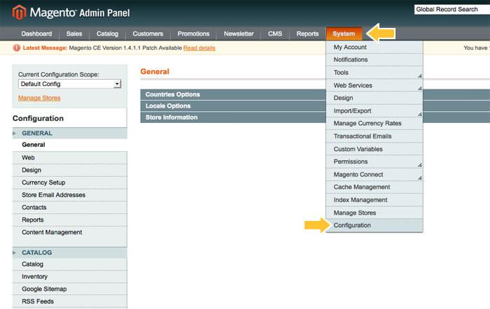 Magento Admin Panel | System Configuration