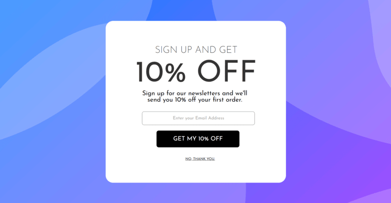 email capture pop-up with coupon promotion