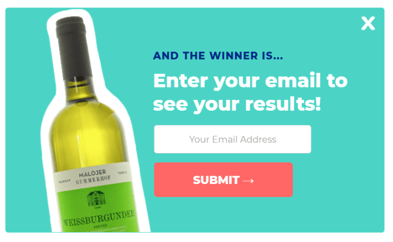 an email capture pop-up with a picture of a wine bottle
