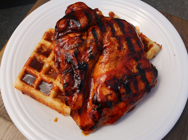 Bbq Chicken Amp Waffles Recipe Cooked On Big Green Egg Grill