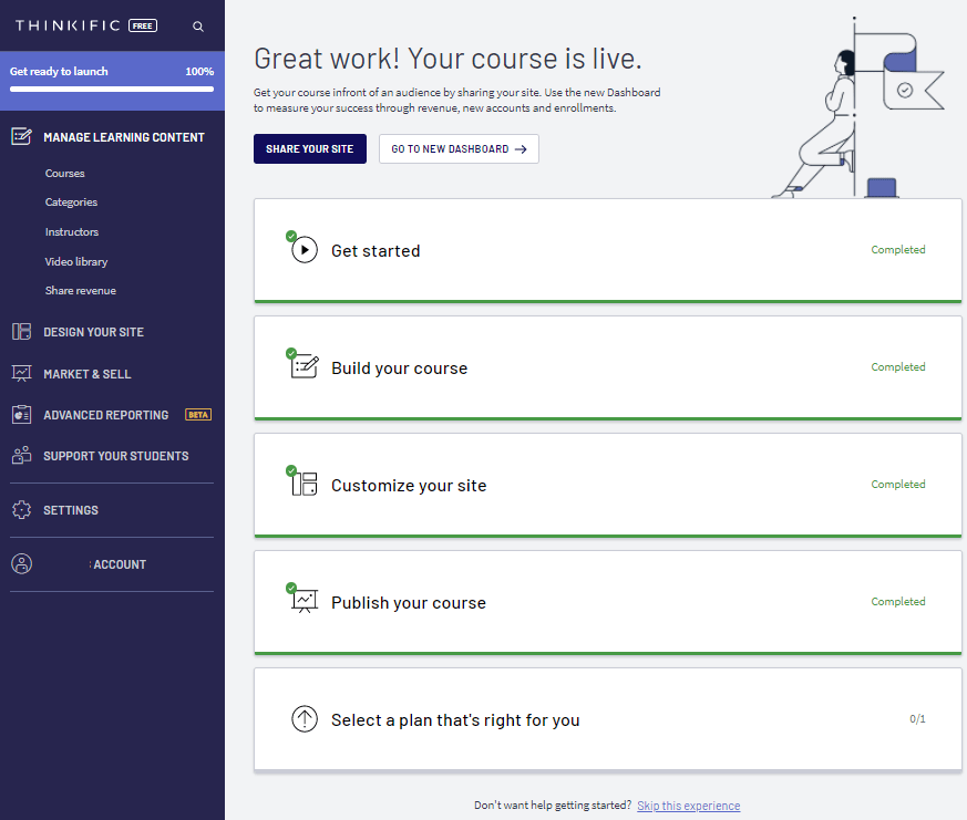 Thinkific Dashboard Free plan