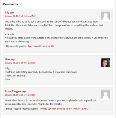 Reply to the comments on your blogged book.
