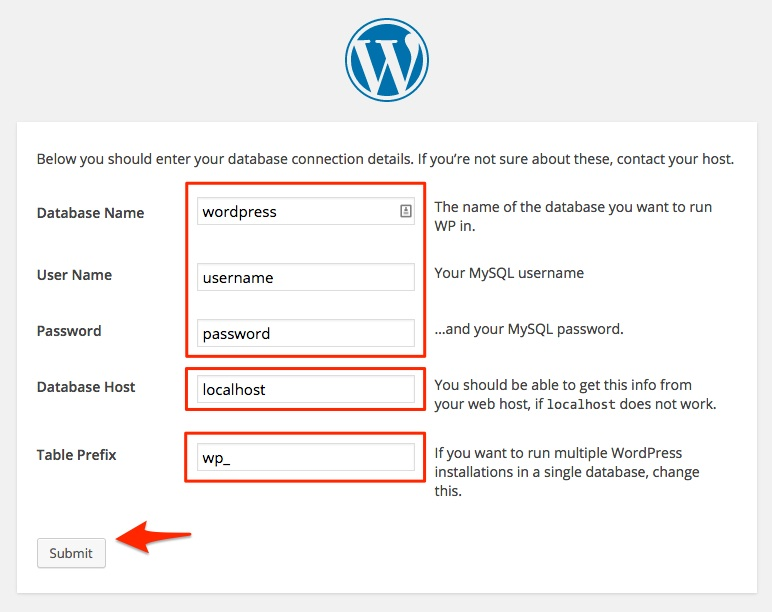 Screenshot showing the details of the WordPress installation
