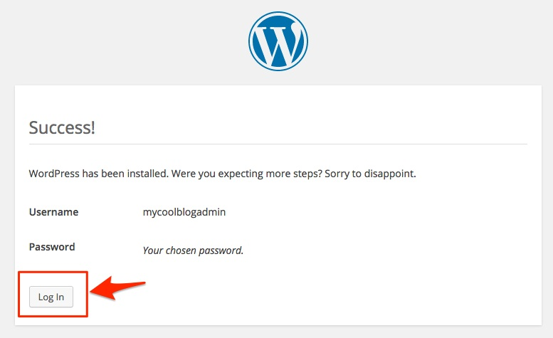 Screenshot showing the WordPress Success installation screen