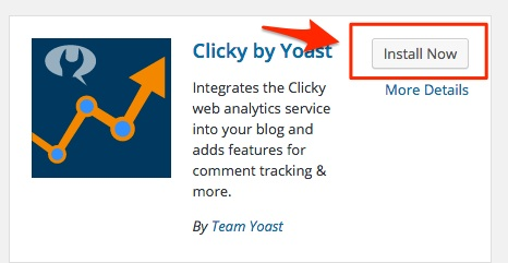 Screenshot showing the install now button for WordPress plugins