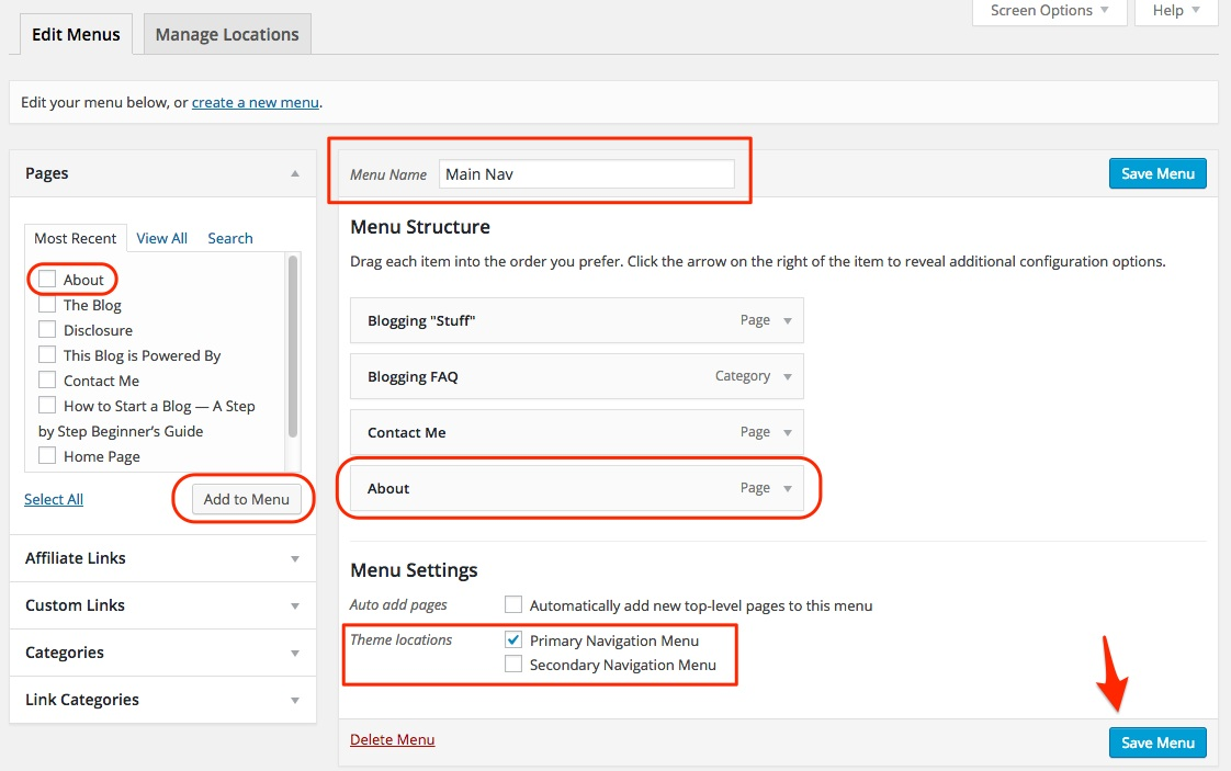 Screenshot showing the menu manager for WordPress