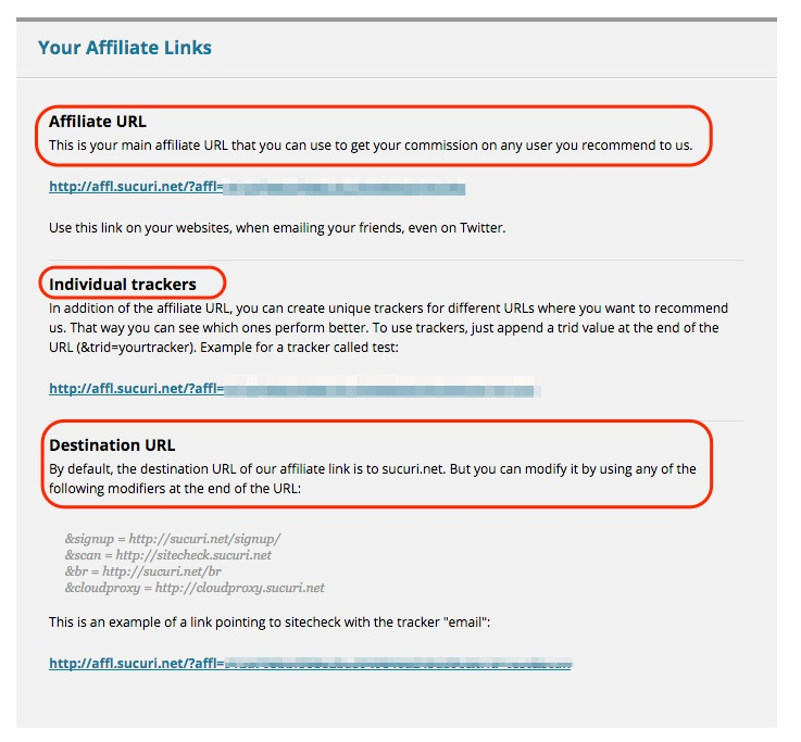 Screenshot indicating where the links are in an affiliate program