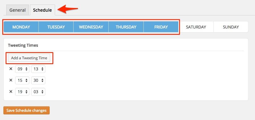 Screenshot indicating the scheduling settings for Tweet Wheel