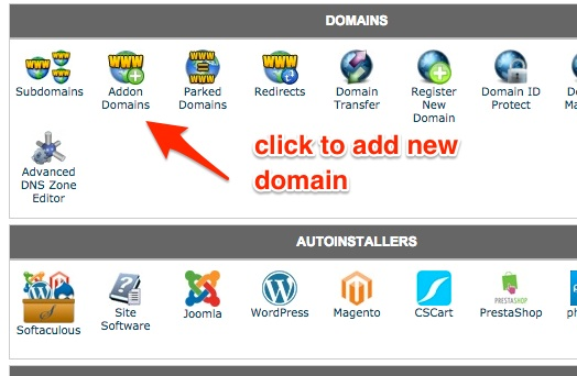 Screenshot indicating the Addon Domains icon in cPanel