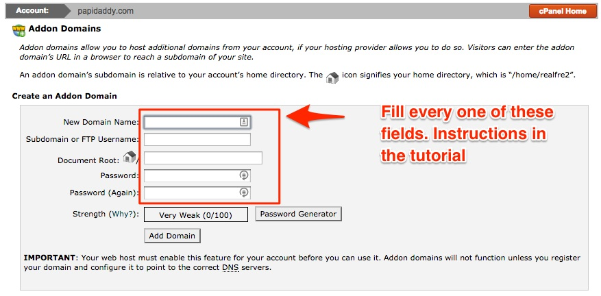 Screenshot indicating the fields to addon a domain in Siteground