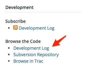Screenshot indicating the link to the development log