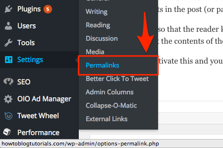 Screenshot showing the permalinks setting option in WordPress