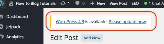 Screenshot indicating the update alert in the WordPress dashboard