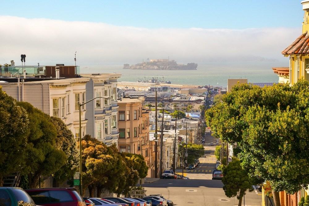 San Francisco view over Alcatraz
