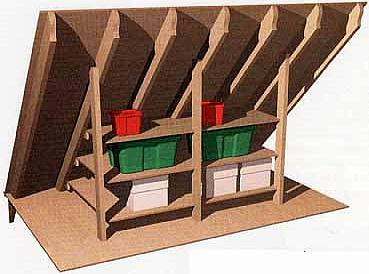 Building Shelves inside of Your Home Attic   How To Build A House Shelves between Two Attic Rafters