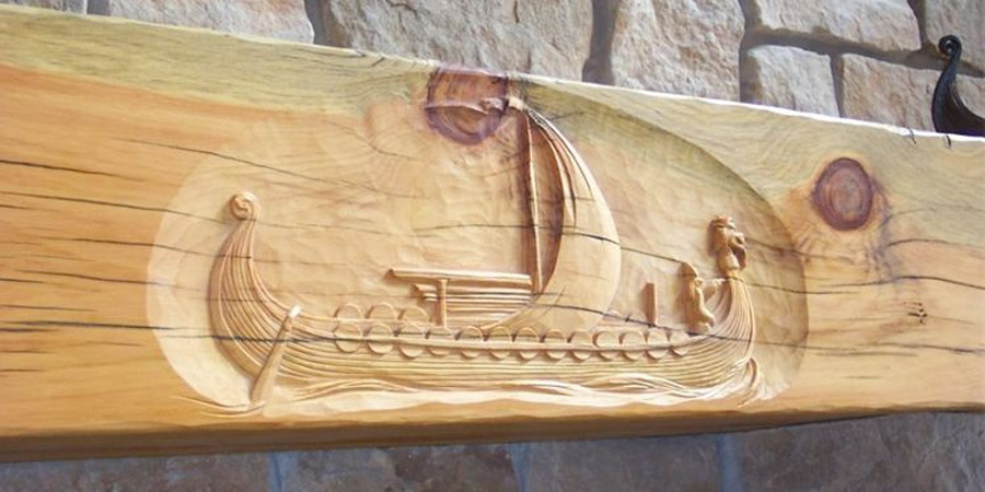 Pine Wood Mantel Wood Carving
