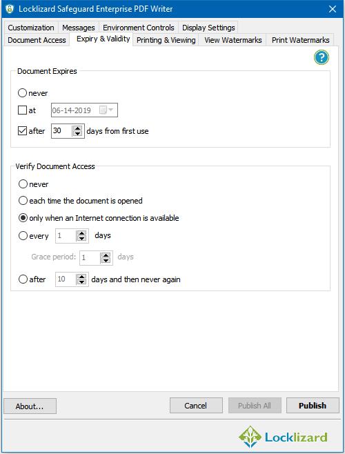 Locklizard's Safeguard interface
