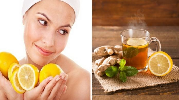 lemon ginger tea for healthy and happy skin