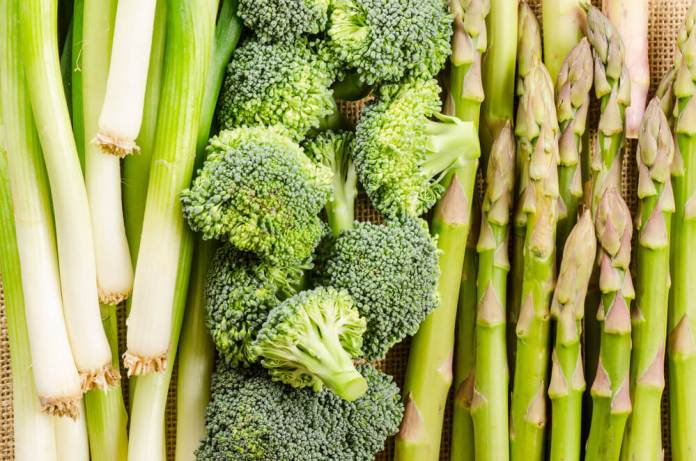 Asparagus and broccoli