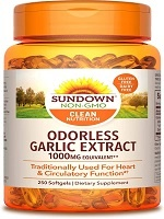 Sundown Garlic 1000 mg, 250 Odorless Softgels