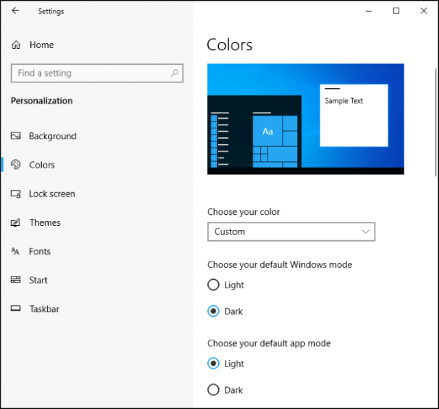 Old dark Windows mode and clear Windows 10 application mode