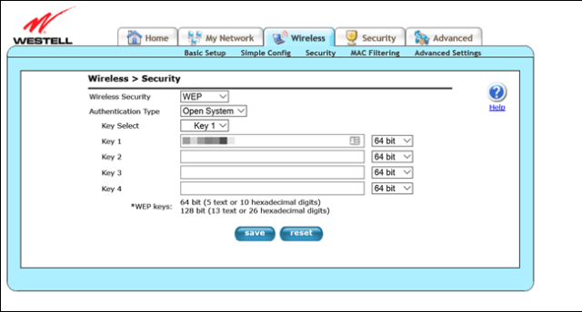 Westell router administration page, indicating the WEP encryption settings.